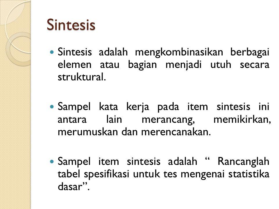 Sintesis Sintesis adalah mengkombinasikan berbagai elemen atau bagian menjadi utuh secara struktural.