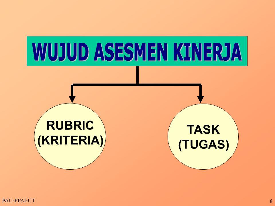 WUJUD ASESMEN KINERJA RUBRIC (KRITERIA) TASK (TUGAS) PAU-PPAI-UT