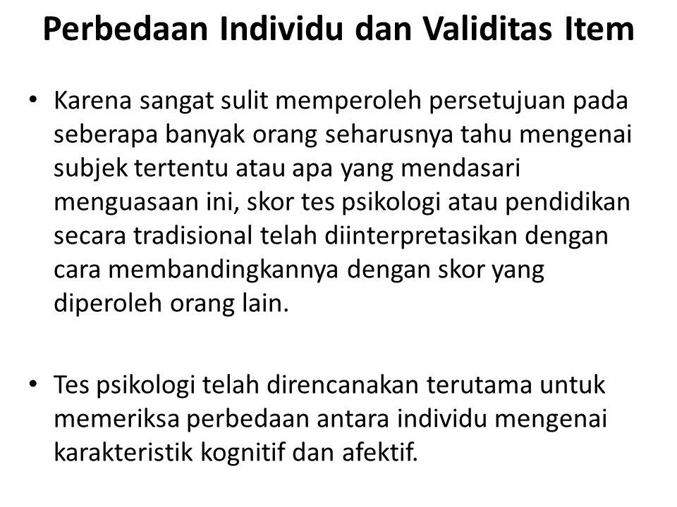 Perbedaan Individu dan Validitas Item
