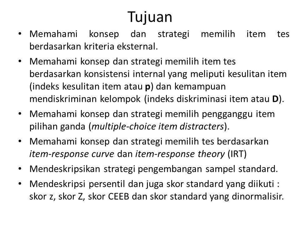 Tujuan Memahami konsep dan strategi memilih item tes berdasarkan kriteria eksternal.