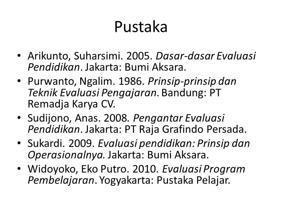 Pustaka Arikunto, Suharsimi. 2005. Dasar-dasar Evaluasi Pendidikan. Jakarta: Bumi Aksara.