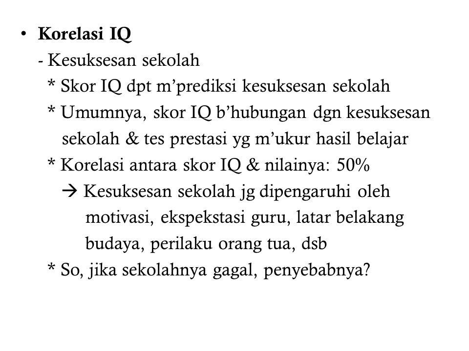 Korelasi IQ - Kesuksesan sekolah. * Skor IQ dpt m'prediksi kesuksesan sekolah. * Umumnya, skor IQ b'hubungan dgn kesuksesan.
