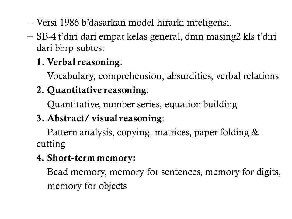Versi 1986 b'dasarkan model hirarki inteligensi.