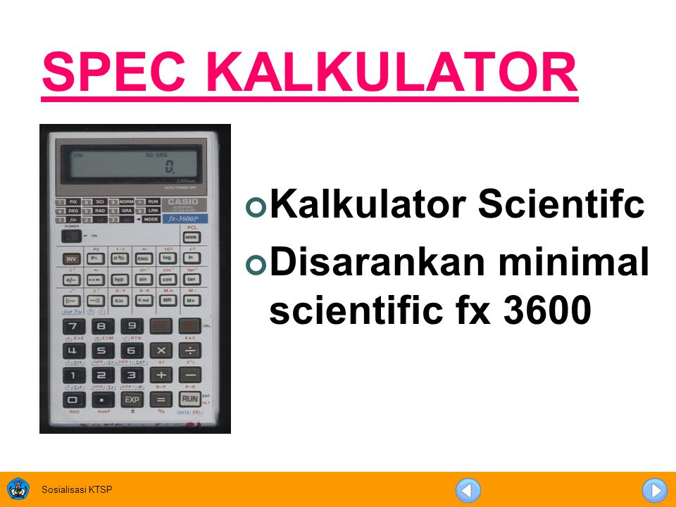 SPEC KALKULATOR Kalkulator Scientifc
