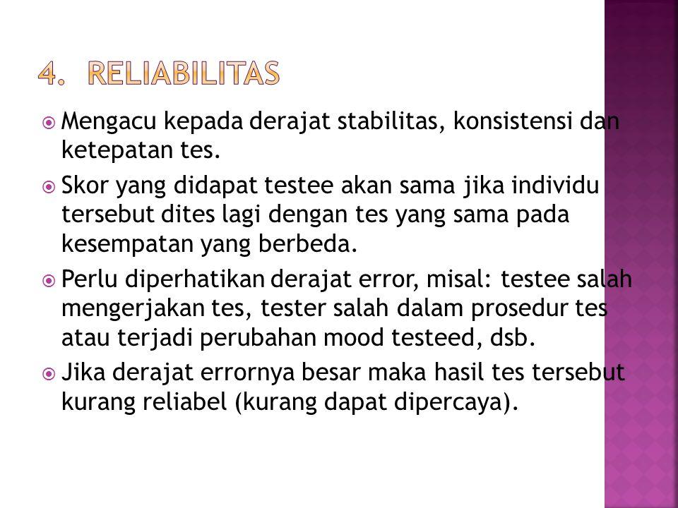 4. RELIABILITAS Mengacu kepada derajat stabilitas, konsistensi dan ketepatan tes.
