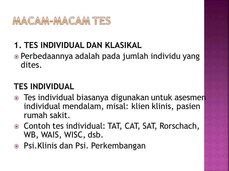 MACAM-MACAM TES 1. TES INDIVIDUAL DAN KLASIKAL