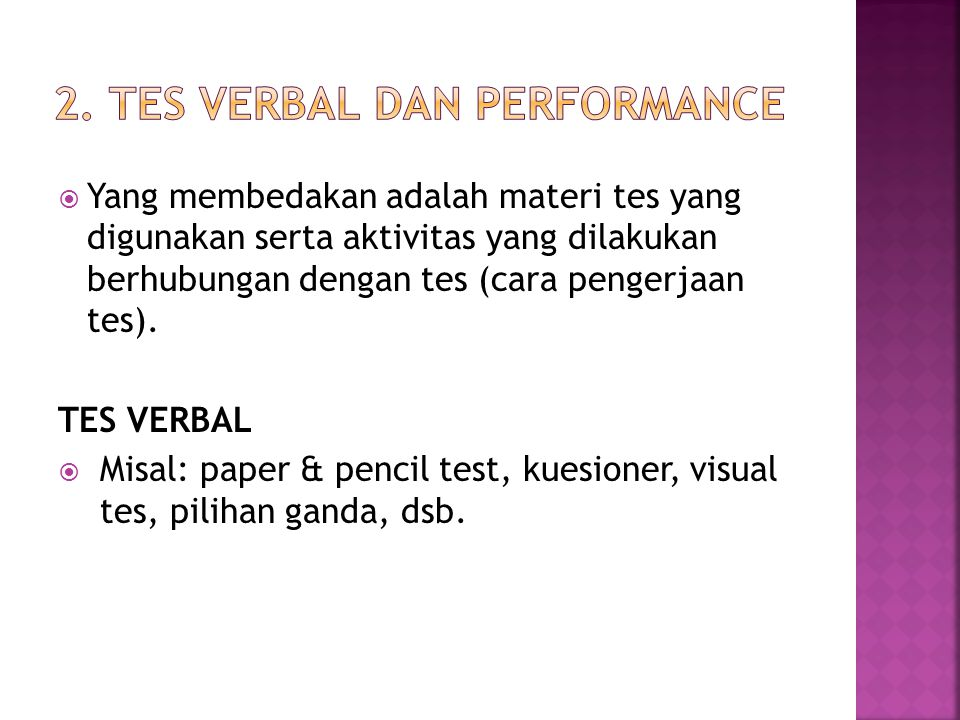 2. TES VERBAL DAN PERFORMANCE