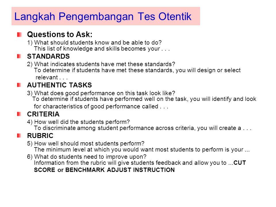 Langkah Pengembangan Tes Otentik