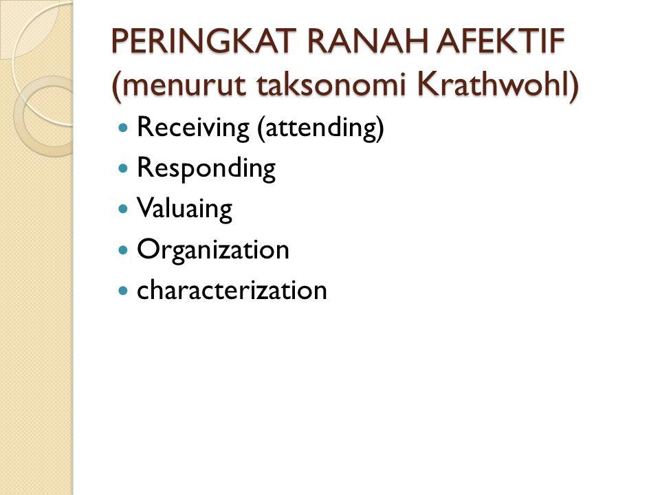 PERINGKAT RANAH AFEKTIF (menurut taksonomi Krathwohl)