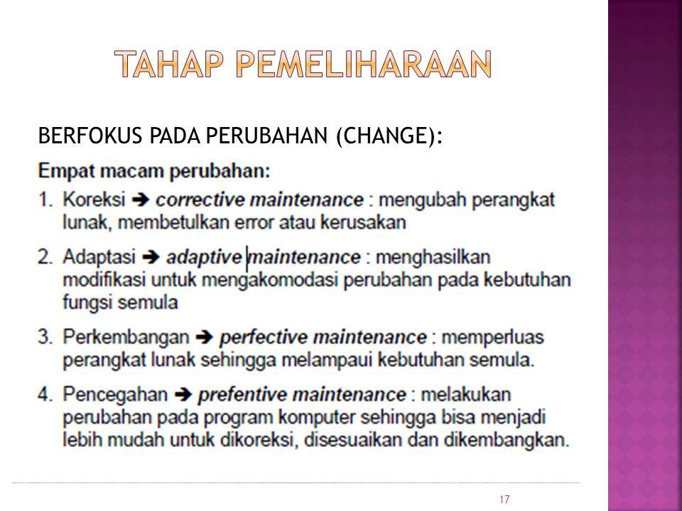 TAHAP PEMELIHARAAN BERFOKUS PADA PERUBAHAN (CHANGE):