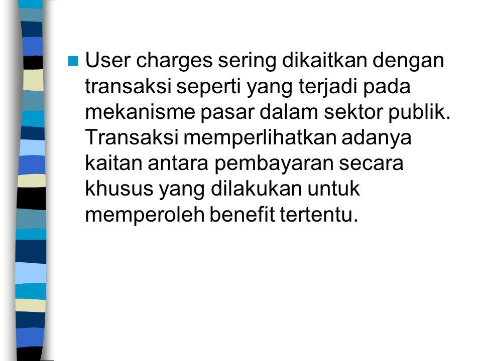 User charges sering dikaitkan dengan transaksi seperti yang terjadi pada mekanisme pasar dalam sektor publik.