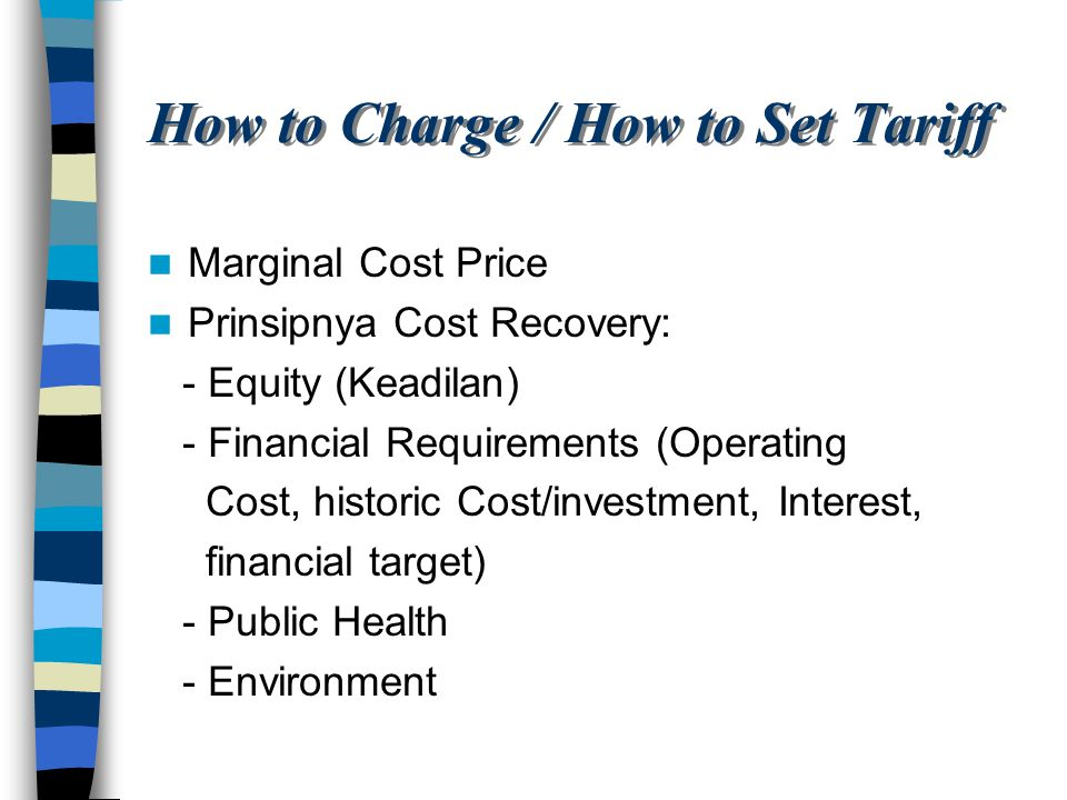 How to Charge / How to Set Tariff