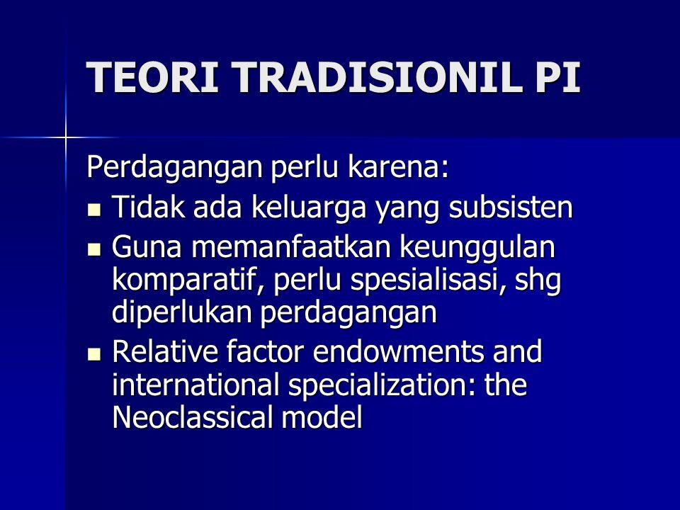 TEORI TRADISIONIL PI Perdagangan perlu karena: