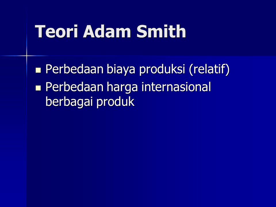 Teori Adam Smith Perbedaan biaya produksi (relatif)