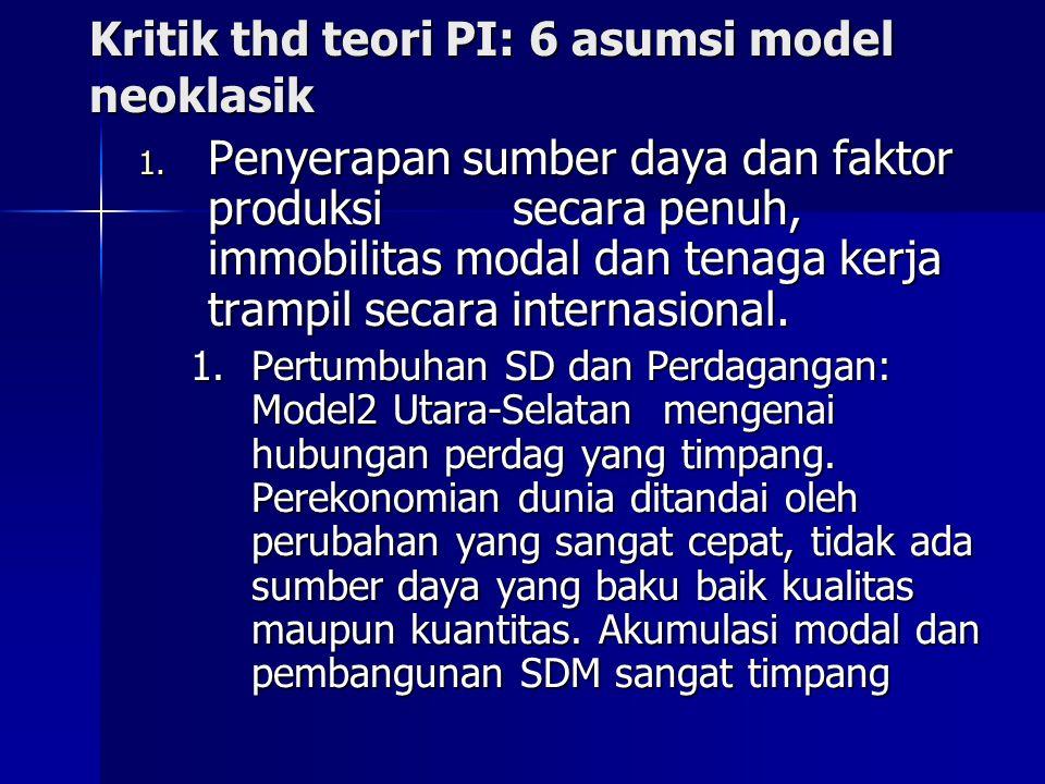 Kritik thd teori PI: 6 asumsi model neoklasik