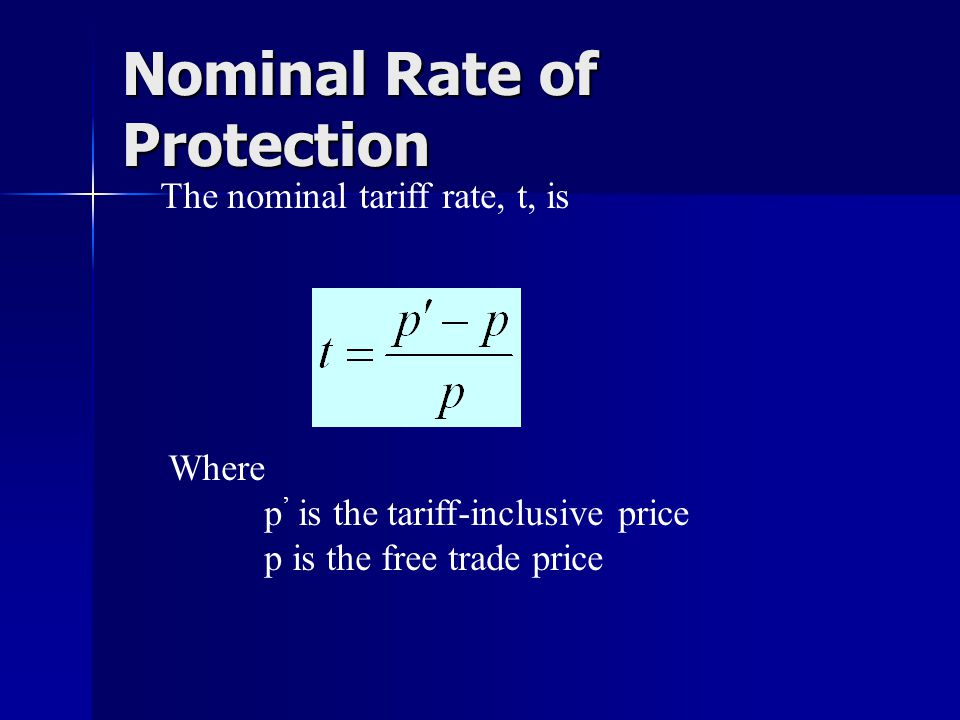 Nominal Rate of Protection