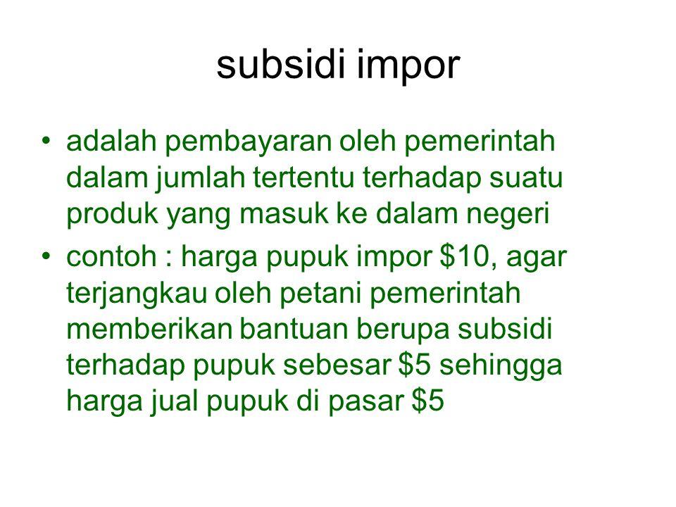 subsidi impor adalah pembayaran oleh pemerintah dalam jumlah tertentu terhadap suatu produk yang masuk ke dalam negeri.