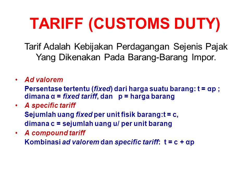 TARIFF (CUSTOMS DUTY) Tarif Adalah Kebijakan Perdagangan Sejenis Pajak Yang Dikenakan Pada Barang-Barang Impor.