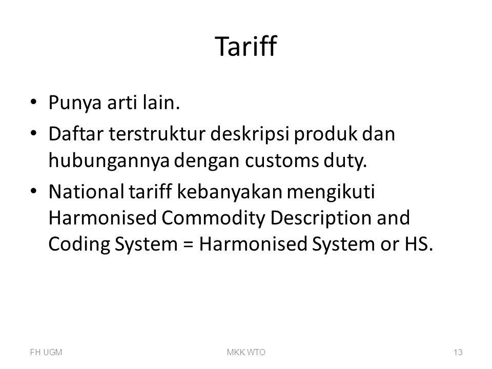Tariff Punya arti lain. Daftar terstruktur deskripsi produk dan hubungannya dengan customs duty.