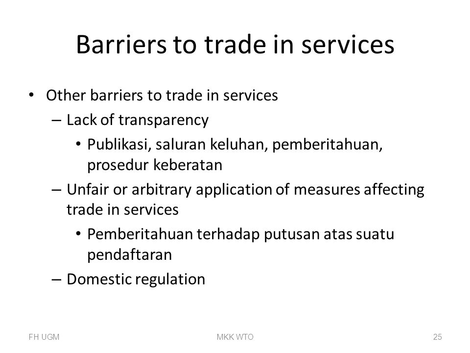 Barriers to trade in services