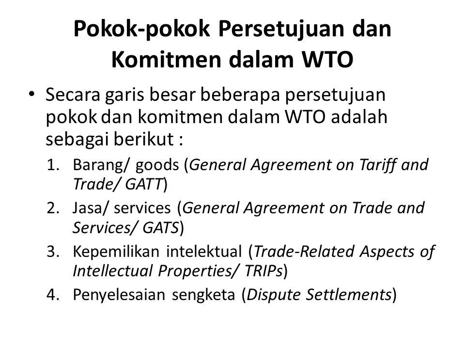 Pokok-pokok Persetujuan dan Komitmen dalam WTO