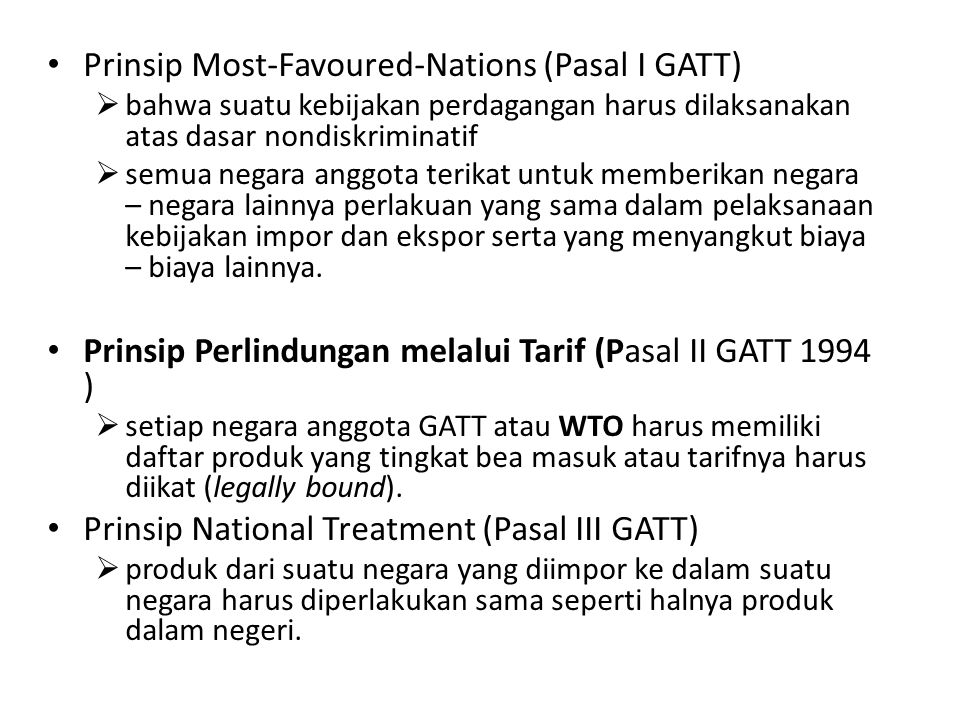 Prinsip Most-Favoured-Nations (Pasal I GATT)