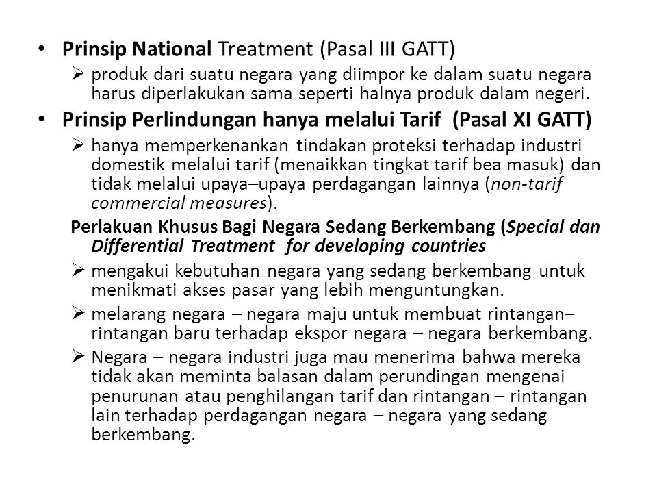 Prinsip National Treatment (Pasal III GATT)