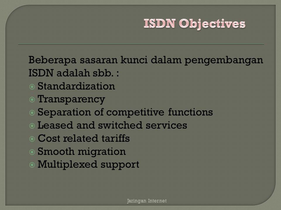 ISDN Objectives Beberapa sasaran kunci dalam pengembangan ISDN adalah sbb. : Standardization. Transparency.
