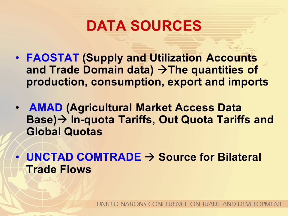 DATA SOURCES FAOSTAT (Supply and Utilization Accounts and Trade Domain data) The quantities of production, consumption, export and imports.