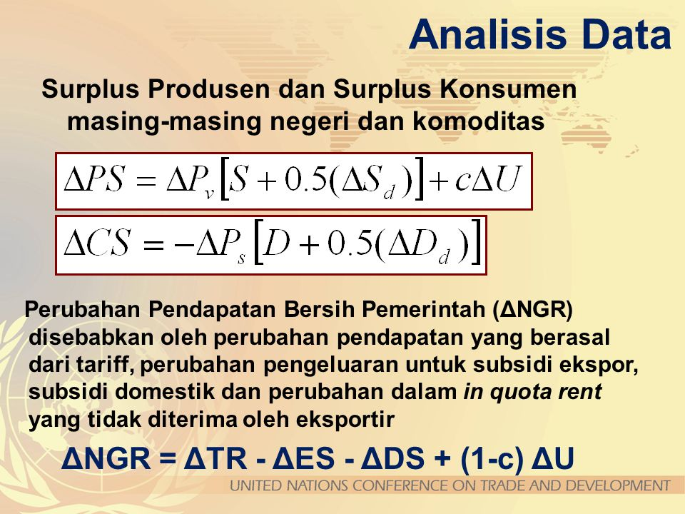 Analisis Data ΔNGR = ΔTR - ΔES - ΔDS + (1-c) ΔU