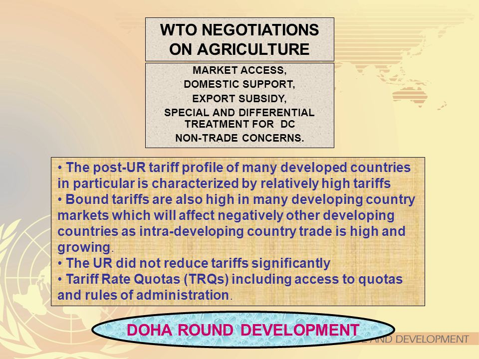 WTO NEGOTIATIONS ON AGRICULTURE DOHA ROUND DEVELOPMENT