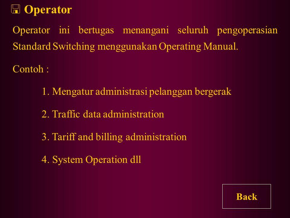 Operator Operator ini bertugas menangani seluruh pengoperasian Standard Switching menggunakan Operating Manual.