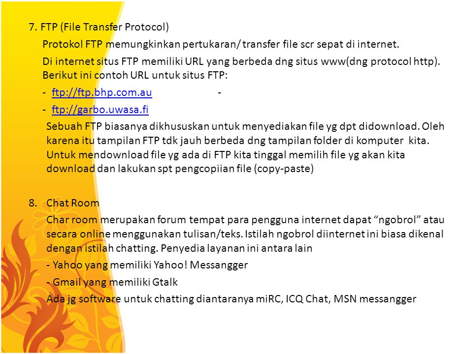 7. FTP (File Transfer Protocol)