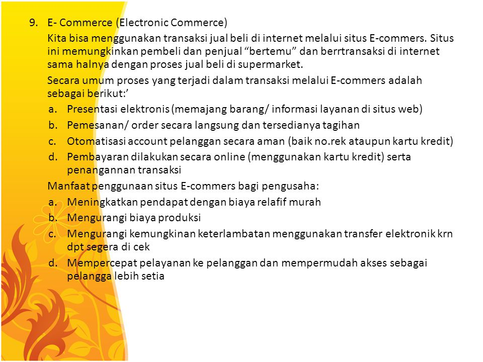 9. E- Commerce (Electronic Commerce)