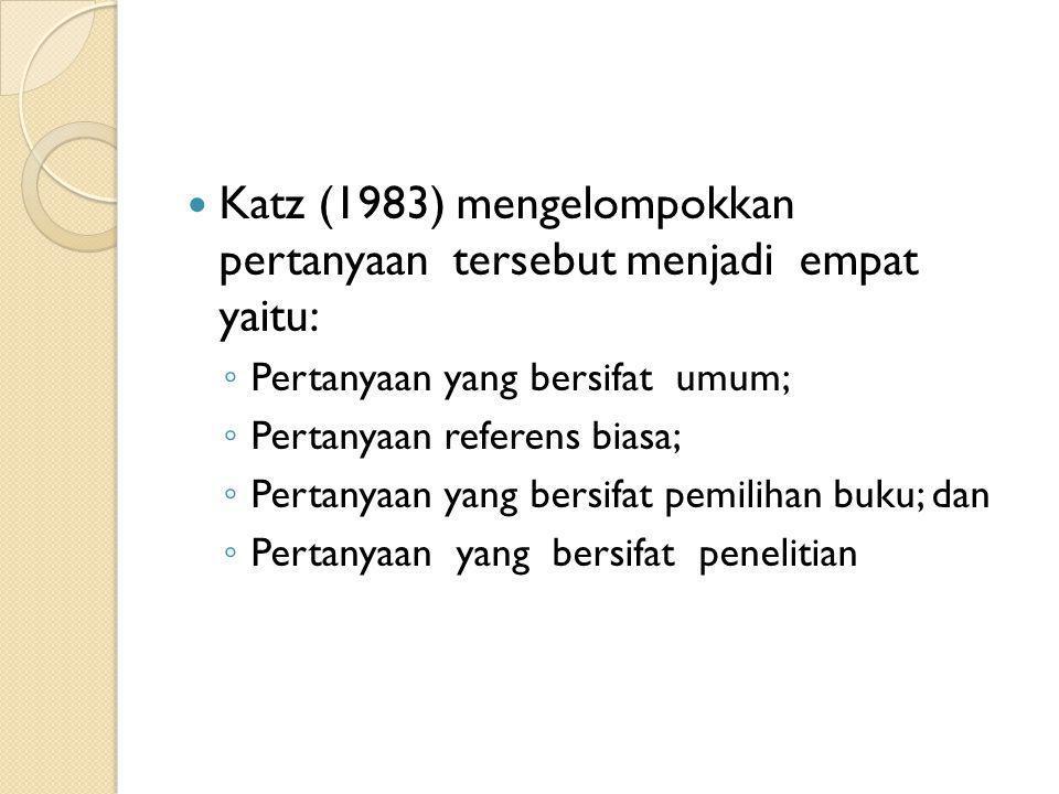 Katz (1983) mengelompokkan pertanyaan tersebut menjadi empat yaitu: