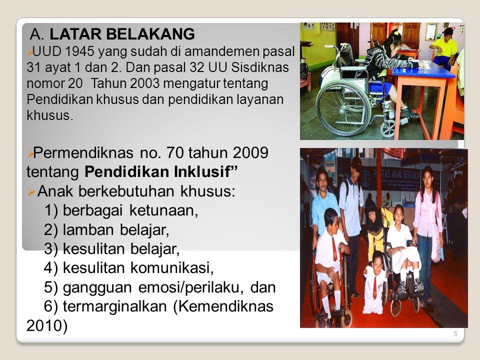Permendiknas no. 70 tahun 2009 tentang Pendidikan Inklusif