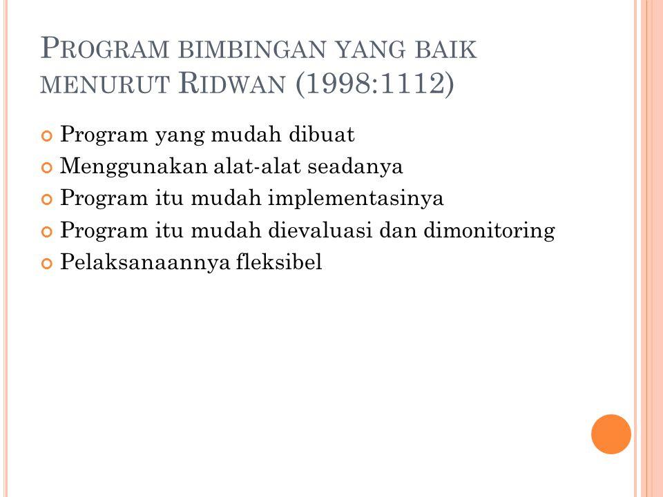 Program bimbingan yang baik menurut Ridwan (1998:1112)
