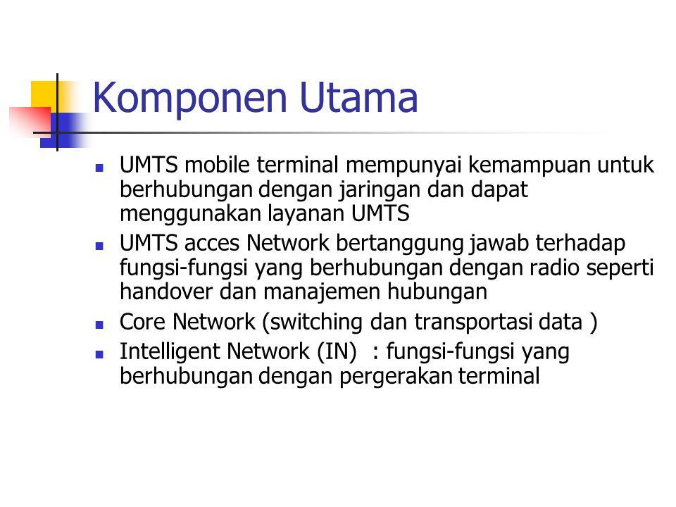 Komponen Utama UMTS mobile terminal mempunyai kemampuan untuk berhubungan dengan jaringan dan dapat menggunakan layanan UMTS.