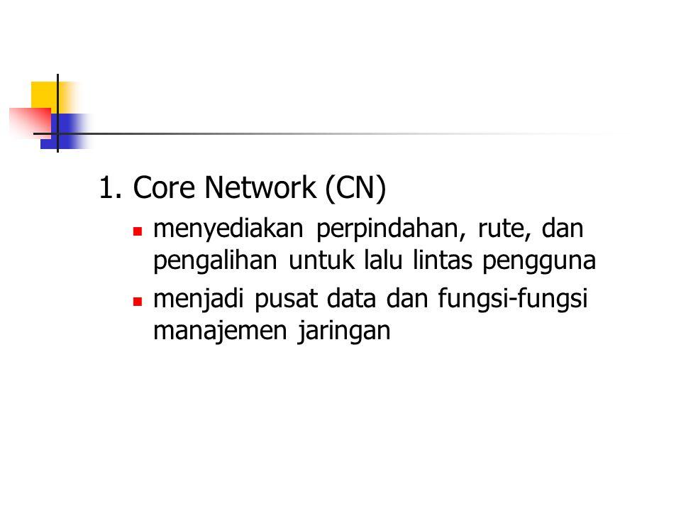 1. Core Network (CN) menyediakan perpindahan, rute, dan pengalihan untuk lalu lintas pengguna.