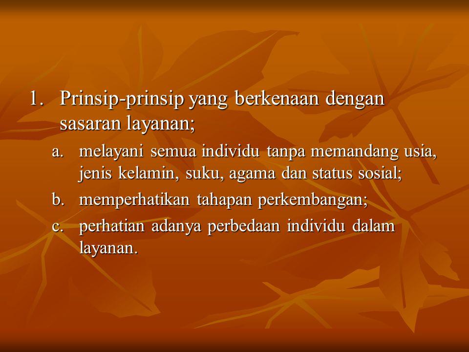 Prinsip-prinsip yang berkenaan dengan sasaran layanan;
