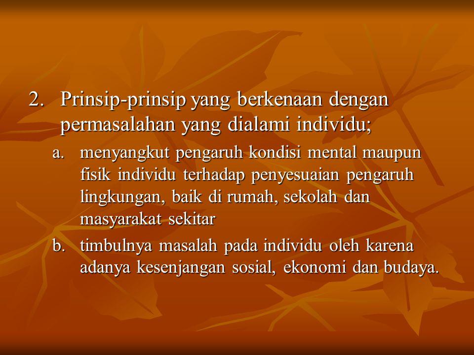 2. Prinsip-prinsip yang berkenaan dengan permasalahan yang dialami individu;