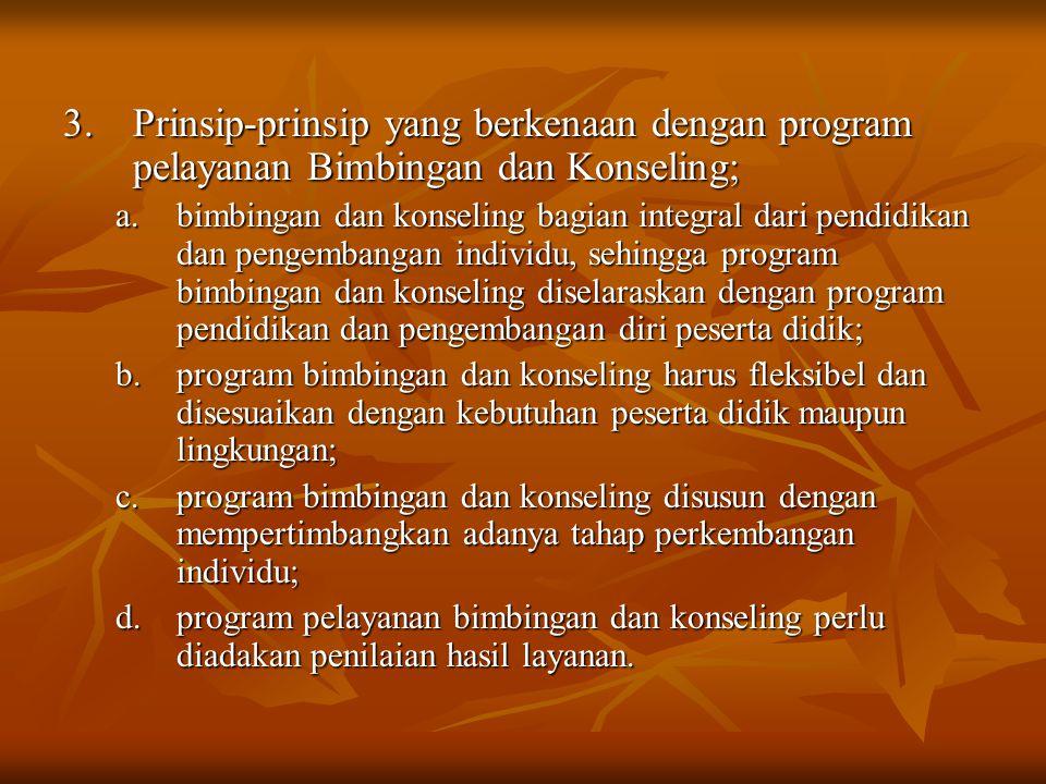 3. Prinsip-prinsip yang berkenaan dengan program pelayanan Bimbingan dan Konseling;