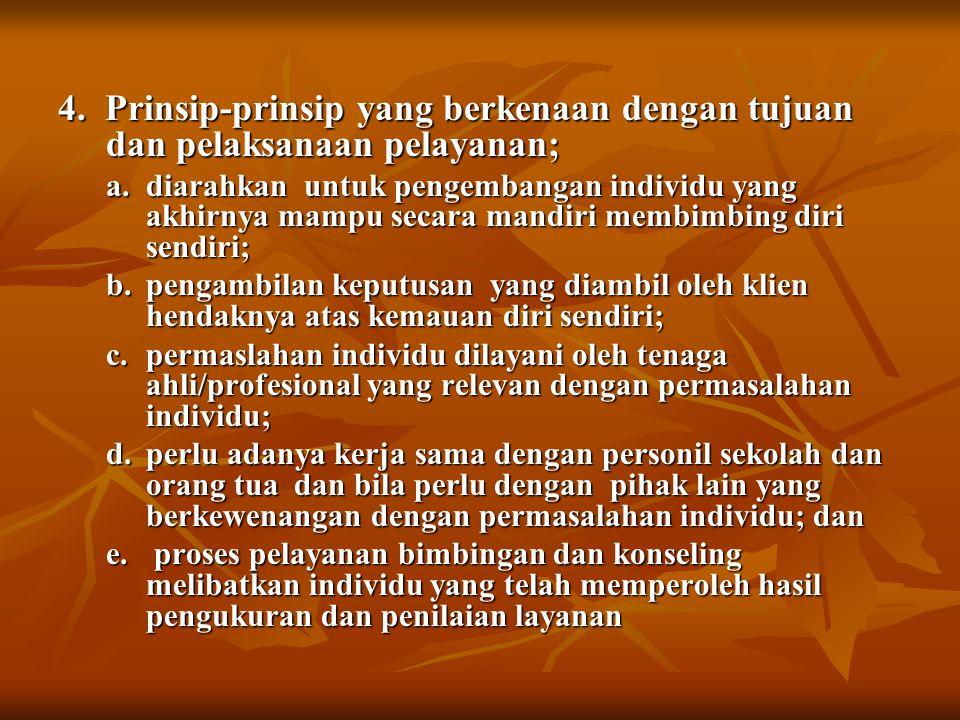 4. Prinsip-prinsip yang berkenaan dengan tujuan dan pelaksanaan pelayanan;