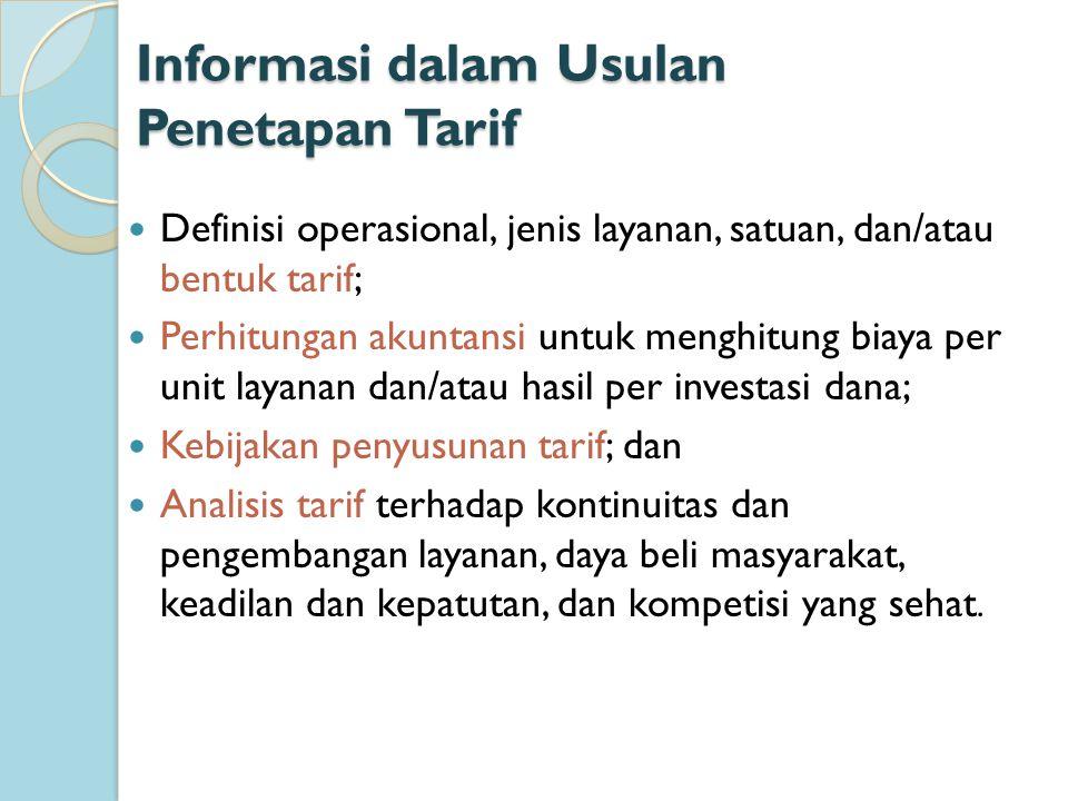 Informasi dalam Usulan Penetapan Tarif