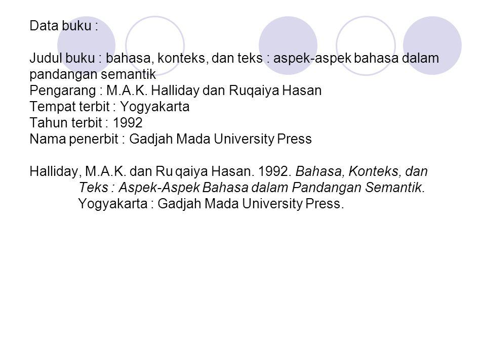 Data buku : Judul buku : bahasa, konteks, dan teks : aspek-aspek bahasa dalam pandangan semantik Pengarang : M.A.K.