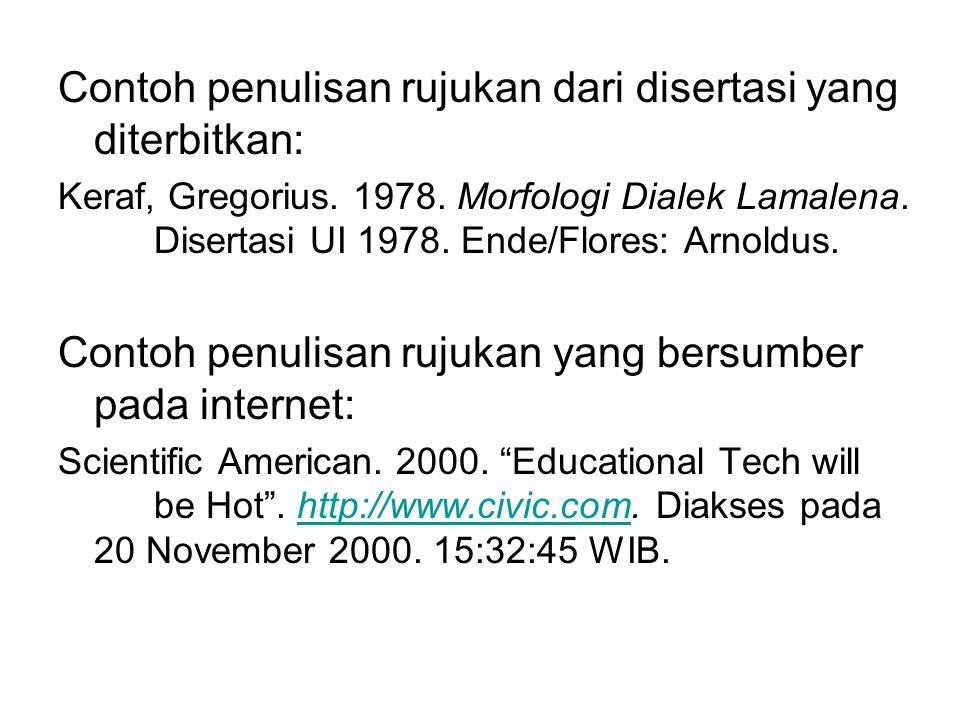 Contoh penulisan rujukan dari disertasi yang diterbitkan: