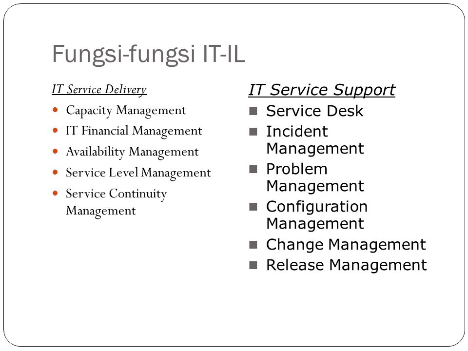Fungsi-fungsi IT-IL IT Service Delivery IT Service Support