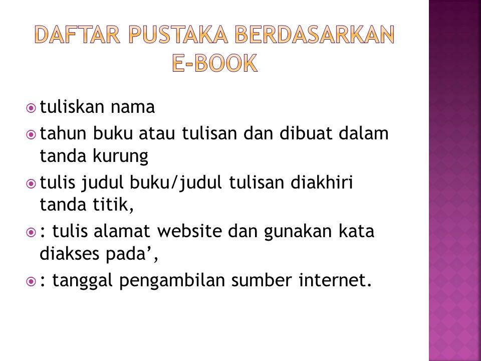 daftar pustaka berdasarkan e-book