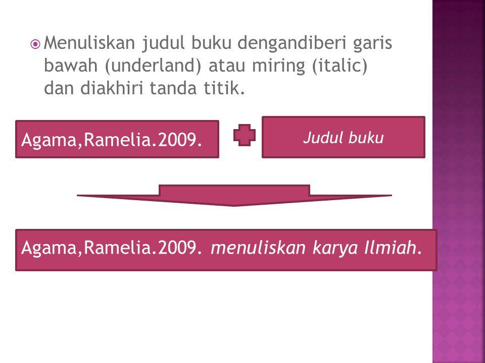 Agama,Ramelia.2009. menuliskan karya Ilmiah.