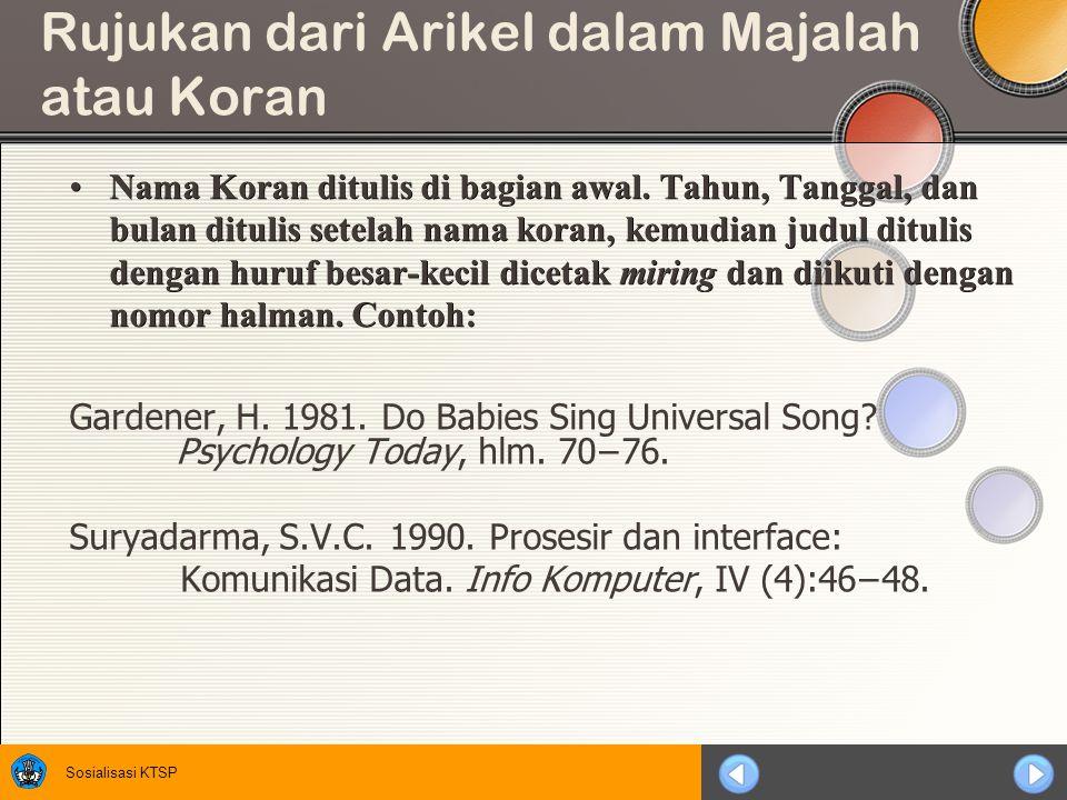 Rujukan dari Arikel dalam Majalah atau Koran
